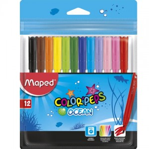 Flamastry colorpeps ocean 12 sztuk zip box Maped 845720