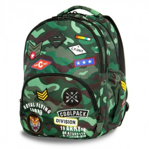 Plecak młodzieżowy Coolpack BENTLEY CAMO GREEN BADGES A16110