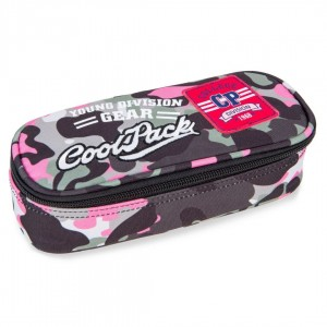 Piórnik Coolpack CAMPUS CAMO PINK BADGES A62112