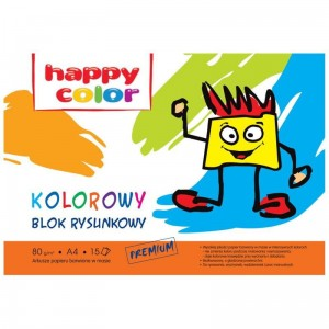 Blok rysunkowy A4 kolor 15 ark 80 g Happy Color