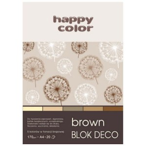 Blok DECO A4 5 kolorów Brown Premium 170g 20 ark HAPPY COLOR