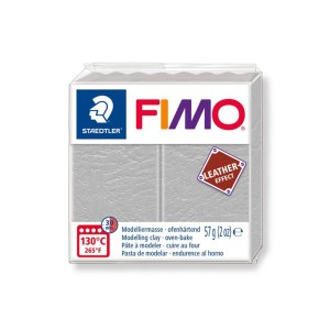 Kostka FIMO leather effect 57g jasnoszary masa termoutwardzalna Staedtler SD-8010-809