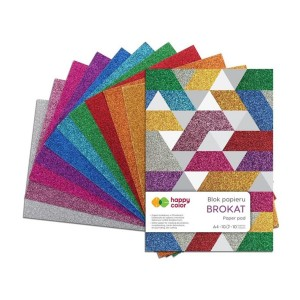 Blok BROKAT A4 10 ark 150g 10 kolorów Happy Color SD-HA38152030-BR