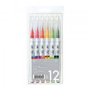 Markery zig clean color real brush 12 set KURETAKE RB6000AT12V